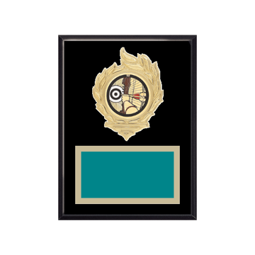 """6"""" x 8"""" Archery Plaque with gold background, colored engraving plate, gold flame medallion holder and Archery insert."""