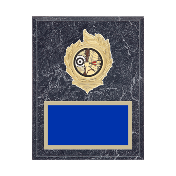 """7"""" x 9"""" Archery Plaque with gold background, colored engraving plate, gold flame medallion holder and Archery insert."""