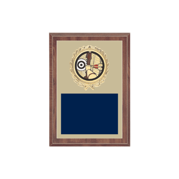 "5"" x 7"" Archery Plaque with gold background plate, colored engraving plate, gold wreath medallion and Archery insert."