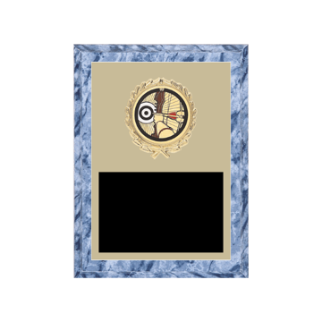 "6"" x 8"" Archery Plaque with gold background plate, colored engraving plate, gold wreath medallion and Archery insert."