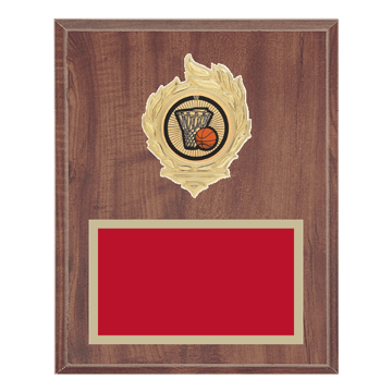 "8"" x 10"" Basketball Plaque with gold background, colored engraving plate, gold flame medallion holder and Basketball insert."