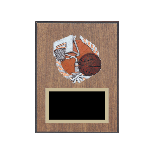 """6"""" x 8"""" Basketball Plaque with gold background plate, colored engraving plate and full color 3D resin Basketball medallion."""