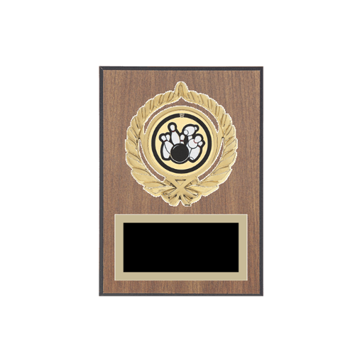 """5"""" x 7"""" Bowling Plaque with gold background plate, colored engraving plate, gold open wreath medallion holder and Bowling insert."""