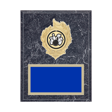 "7"" x 9"" Bowling Plaque with gold background, colored engraving plate, gold flame medallion holder and Bowling insert."