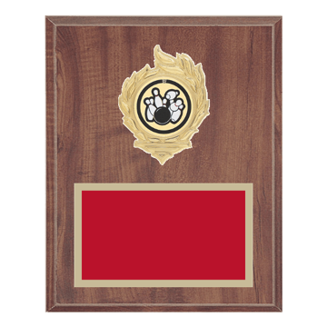 "8"" x 10"" Bowling Plaque with gold background, colored engraving plate, gold flame medallion holder and Bowling insert."