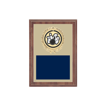 "5"" x 7"" Bowling Plaque with gold background plate, colored engraving plate, gold wreath medallion and Bowling insert."