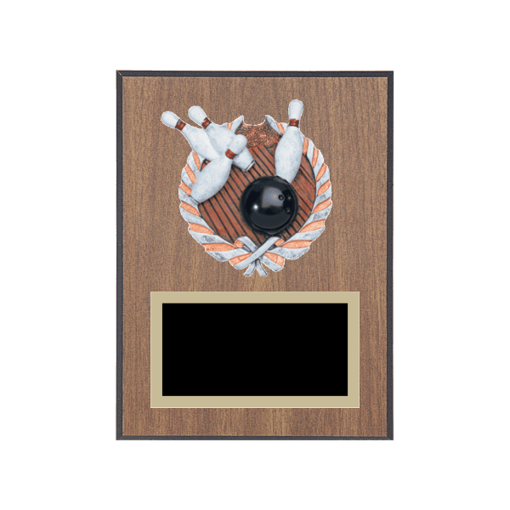 """6"""" x 8"""" Bowling Plaque with gold background plate, colored engraving plate and full color 3D resin Bowling medallion."""