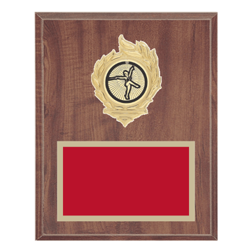 "8"" x 10"" Baton Twirling Plaque with gold background, colored engraving plate, gold flame medallion holder and Baton Twirling insert."