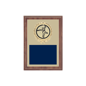 "5"" x 7"" Baton Twirling Plaque with gold background plate, colored engraving plate, gold wreath medallion and Baton Twirling insert."