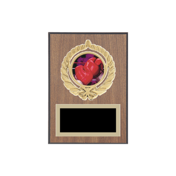 """5"""" x 7"""" Boxing Plaque with gold background plate, colored engraving plate, gold open wreath medallion holder and Boxing insert."""