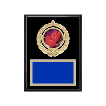 """6"""" x 8"""" Boxing Plaque with gold background plate, colored engraving plate, gold open wreath medallion holder and Boxing insert."""