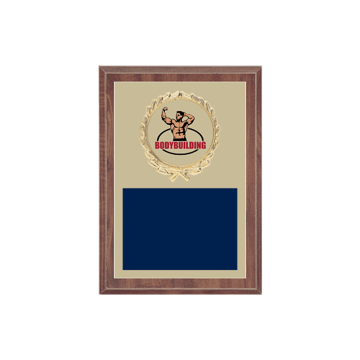 """5"""" x 7"""" Bodybuilding Plaque with gold background plate, colored engraving plate, gold wreath medallion and Bodybuilding insert."""