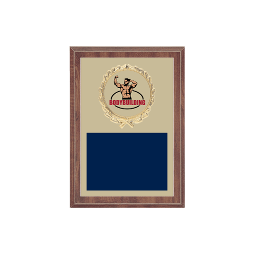 "5"" x 7"" Bodybuilding Plaque with gold background plate, colored engraving plate, gold wreath medallion and Bodybuilding insert."