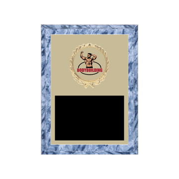 """6"""" x 8"""" Bodybuilding Plaque with gold background plate, colored engraving plate, gold wreath medallion and Bodybuilding insert."""