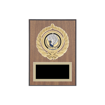 "5"" x 7"" Attendance Plaque with gold background plate, colored engraving plate, gold open wreath medallion holder and Attendance insert."