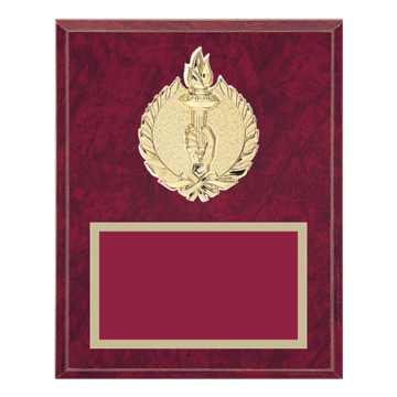 "8"" x 10"" Achievement Plaque with gold background plate, colored engraving plate and gold 3D Achievement medallion."