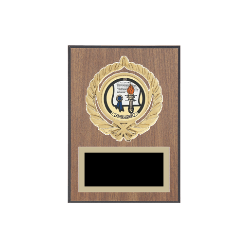 """5"""" x 7"""" Achievement Plaque with gold background plate, colored engraving plate, gold open wreath medallion holder and Achievement insert."""