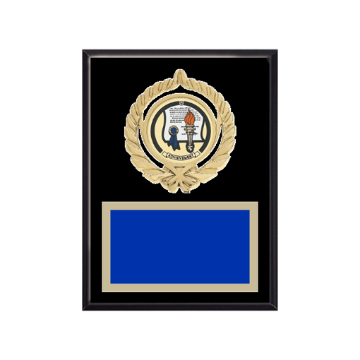 """6"""" x 8"""" Achievement Plaque with gold background plate, colored engraving plate, gold open wreath medallion holder and Achievement insert."""