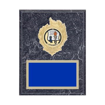 "7"" x 9"" Achievement Plaque with gold background, colored engraving plate, gold flame medallion holder and Achievement insert."