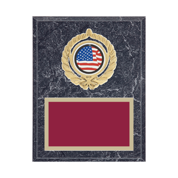 """7"""" x 9"""" American Flag   Patriotic Plaque with gold background plate, colored engraving plate, gold open wreath medallion holder and American Flag   Patriotic insert."""