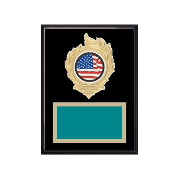 """6"""" x 8"""" American Flag   Patriotic Plaque with gold background, colored engraving plate, gold flame medallion holder and American Flag   Patriotic insert."""
