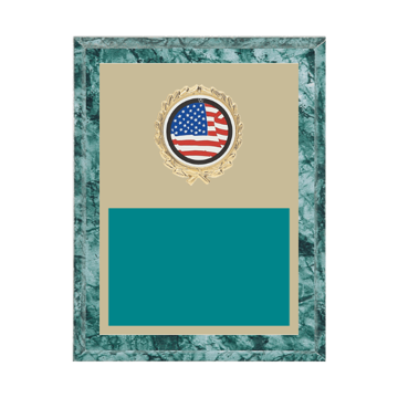 """7"""" x 9"""" American Flag   Patriotic Plaque with gold background plate, colored engraving plate, gold wreath medallion and American Flag   Patriotic insert."""