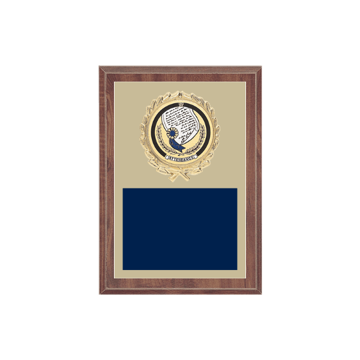 "5"" x 7"" Attendance Plaque with gold background plate, colored engraving plate, gold wreath medallion and Attendance insert."