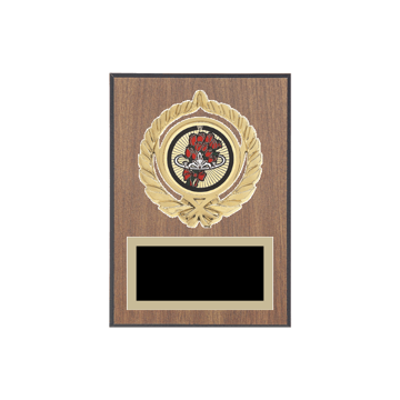 """5"""" x 7"""" Beauty Queen Plaque with gold background plate, colored engraving plate, gold open wreath medallion holder and Beauty Queen insert."""