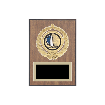 "5"" x 7"" Boating Plaque with gold background plate, colored engraving plate, gold open wreath medallion holder and Boating insert."