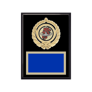 """6"""" x 8"""" Beauty Queen Plaque with gold background plate, colored engraving plate, gold open wreath medallion holder and Beauty Queen insert."""