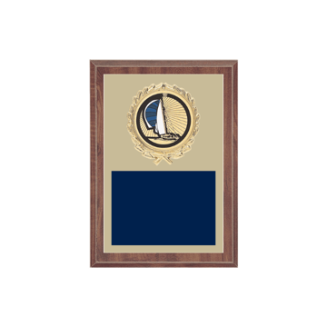 "5"" x 7"" Boating Plaque with gold background plate, colored engraving plate, gold wreath medallion and Boating insert."