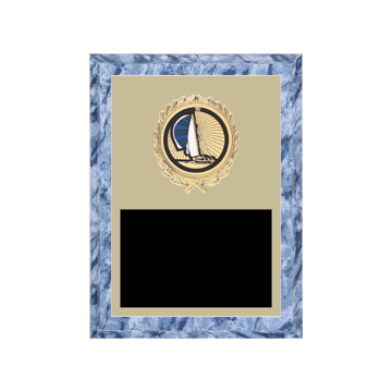 "6"" x 8"" Boating Plaque with gold background plate, colored engraving plate, gold wreath medallion and Boating insert."