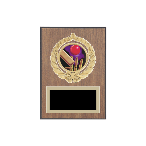"""5"""" x 7"""" Cricket Plaque with gold background plate, colored engraving plate, gold open wreath medallion holder and Cricket insert."""