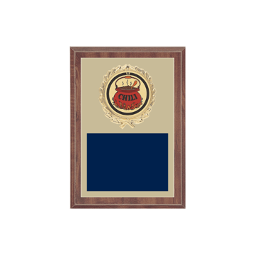 """5"""" x 7"""" Chili Cook-Off Plaque with gold background plate, colored engraving plate, gold wreath medallion and Chili Cook-Off insert."""