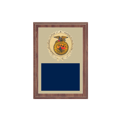 """5"""" x 7"""" Clubs   Organization Plaque with gold background plate, colored engraving plate, gold wreath medallion and Clubs   Organization insert."""