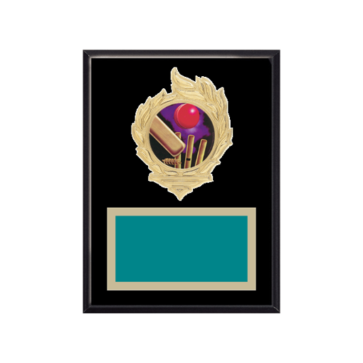 "6"" x 8"" Cricket Plaque with gold background, colored engraving plate, gold flame medallion holder and Cricket insert."