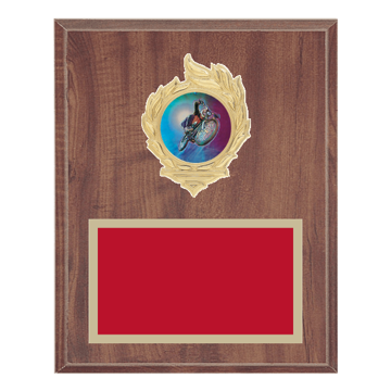 "8"" x 10"" Cycling Plaque with gold background, colored engraving plate, gold flame medallion holder and Cycling insert."
