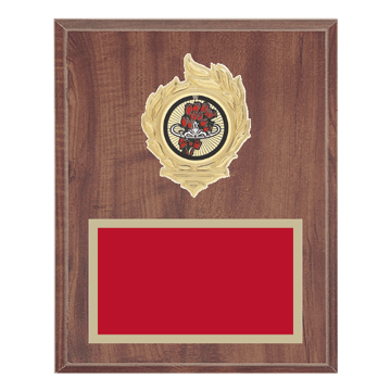 """8"""" x 10"""" Beauty Queen Plaque with gold background, colored engraving plate, gold flame medallion holder and Beauty Queen insert."""