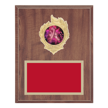 "8"" x 10"" Dance Plaque with gold background, colored engraving plate, gold flame medallion holder and Dance insert."