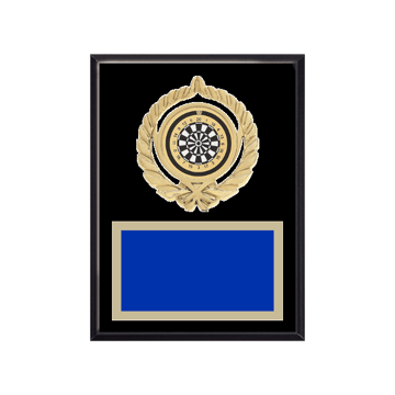 "6"" x 8"" Dart Plaque with gold background plate, colored engraving plate, gold open wreath medallion holder and Dart insert."