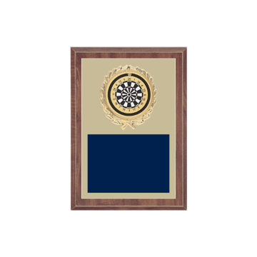 "5"" x 7"" Dart Plaque with gold background plate, colored engraving plate, gold wreath medallion and Dart insert."