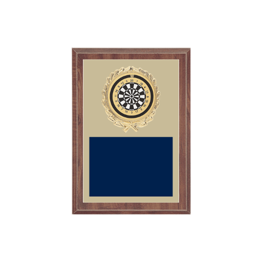 """5"""" x 7"""" Dart Plaque with gold background plate, colored engraving plate, gold wreath medallion and Dart insert."""