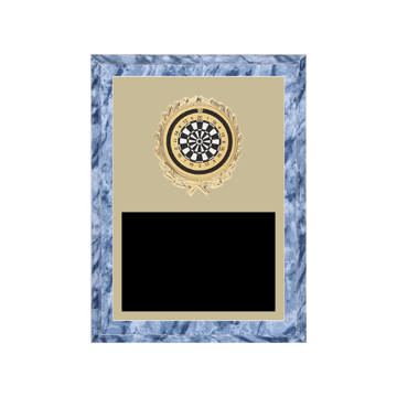 "6"" x 8"" Dart Plaque with gold background plate, colored engraving plate, gold wreath medallion and Dart insert."