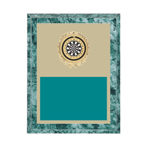 """7"""" x 9"""" Dart Plaque with gold background plate, colored engraving plate, gold wreath medallion and Dart insert."""