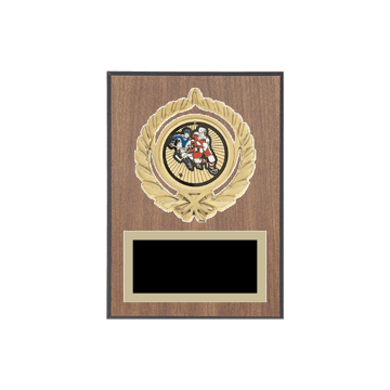 "5"" x 7"" Hockey Plaque with gold background plate, colored engraving plate, gold open wreath medallion holder and Hockey insert."
