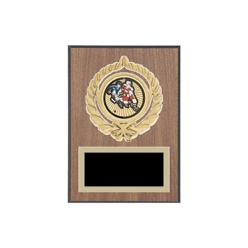 """5"""" x 7"""" Hockey Plaque with gold background plate, colored engraving plate, gold open wreath medallion holder and Hockey insert."""