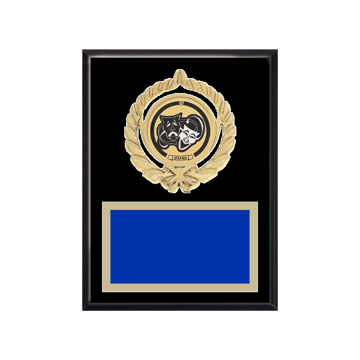 """6"""" x 8"""" Drama Plaque with gold background plate, colored engraving plate, gold open wreath medallion holder and Drama insert."""