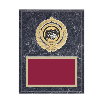 """7"""" x 9"""" Drama Plaque with gold background plate, colored engraving plate, gold open wreath medallion holder and Drama insert."""
