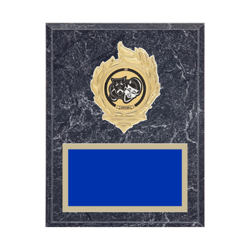 """7"""" x 9"""" Drama Plaque with gold background, colored engraving plate, gold flame medallion holder and Drama insert."""