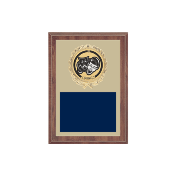 """5"""" x 7"""" Drama Plaque with gold background plate, colored engraving plate, gold wreath medallion and Drama insert."""